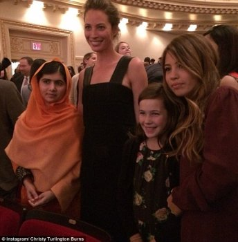 'Favourite minute of the night. My girl and niece beside me and Malala. This younger lady may be the role model. Many thanks, ' penned Christy Turlington burns on Instagram