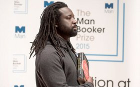Marlon James attends the 2015 Man Booker Prize for Fiction shortlisted authors photocall held within Royal Festival Hall